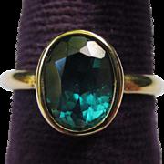 Vintage 14k Gold & Topaz Solitaire Ring