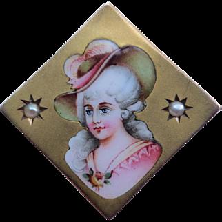 Fine Victorian 10k Gold Enamel & Seed Pearl Portrait Brooch