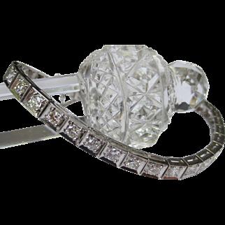 Wonderful Deco Vintage Platinum & Diamond Line Tennis Bracelet