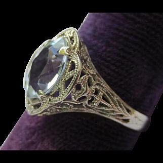 Lovely Edwardian 14k White Gold Aquamarine Ring