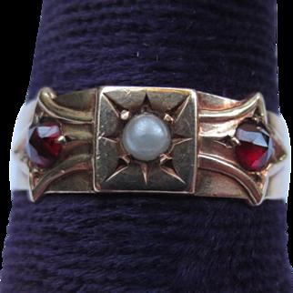 Victorian Pearl & Garnet 9k Gold Bow Ring