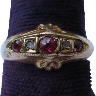 Antique 9k Gold Victorian Ruby & Diamond Ring