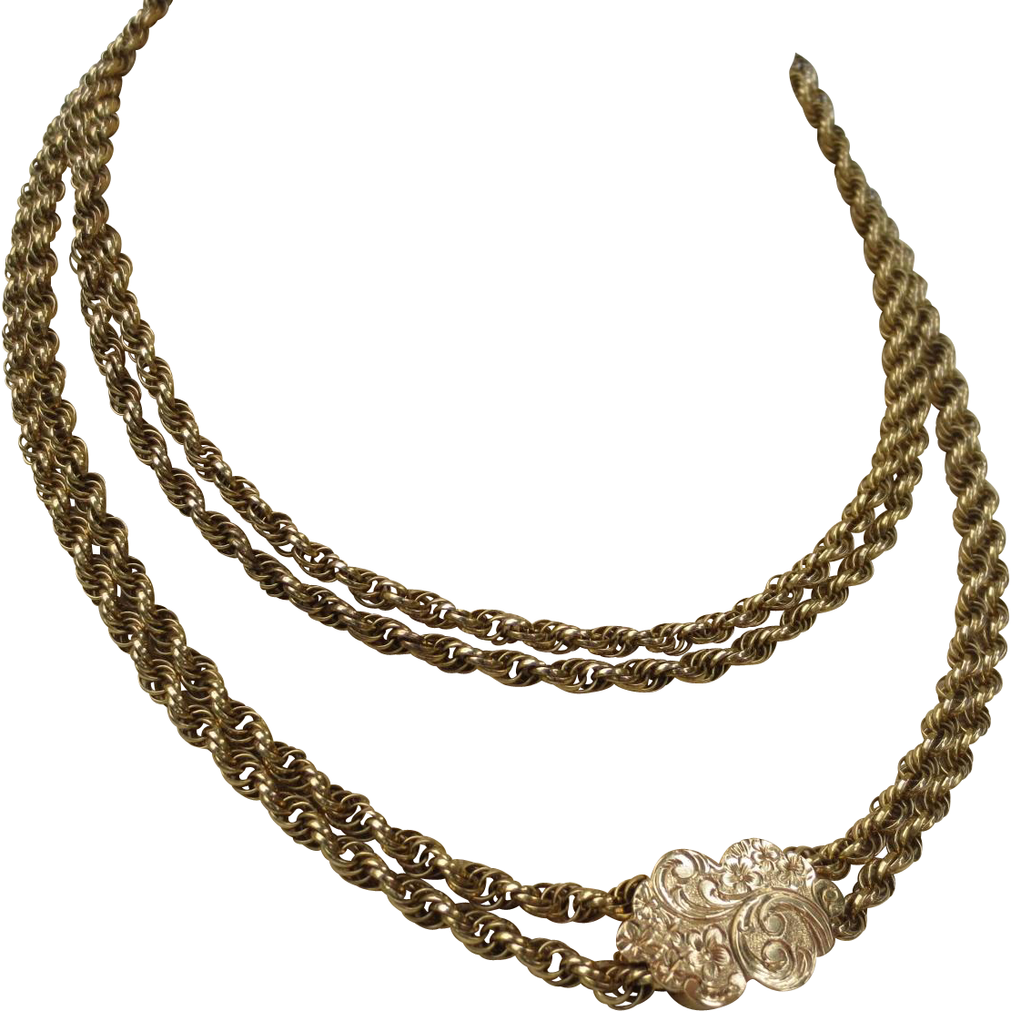 Fine Victorian 14k Gold Rope Chain Necklace & Slide