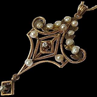 Lovely Edwardian Pearl & Diamond 14k Lavalier Pendant Necklace