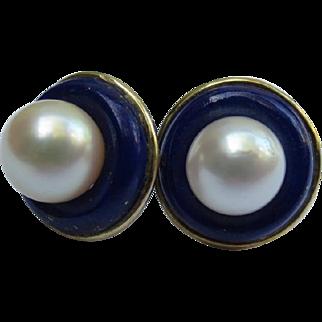 Vintage 14k Gold Lapis Lazuli & Pearl Interchangeable Earrings