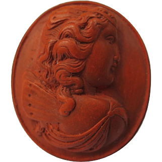 Victorian Lava Cameo Brooch Silver Gold Gilt Goddess Psyche