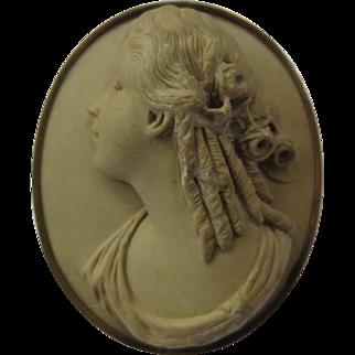 Antique 14k Gold Victorian Lava Cameo Portrait Brooch