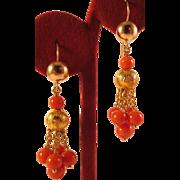 Beautiful Antique 14k Gold Salmon Coral Bead Chandelier Earrings