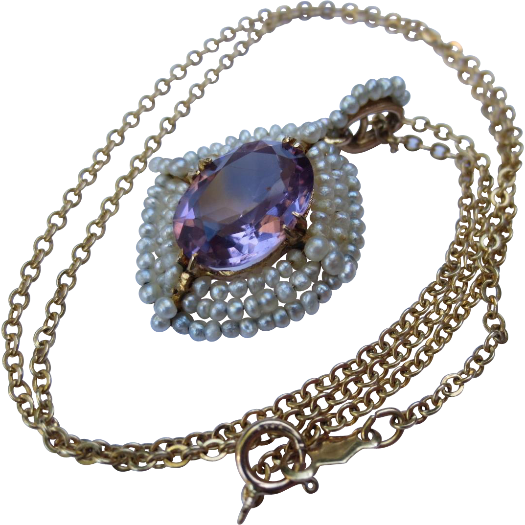 Edwardian 10K Seed Pearl & Amethyst Wedding Pendant and 14k Gold Chain