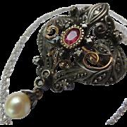 Elegant Edwardian 14k Gold Rose Cut Diamond Ruby & Pearl Pendant
