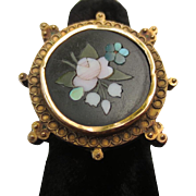 Victorian 14k gold Etruscan revival ring Pietra Dura Mosaic flowers