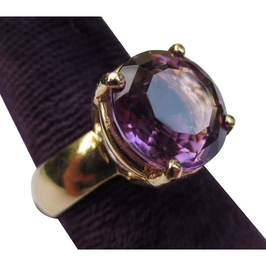 Vintage 14k Gold Amethyst Solitaire Cocktail Ring