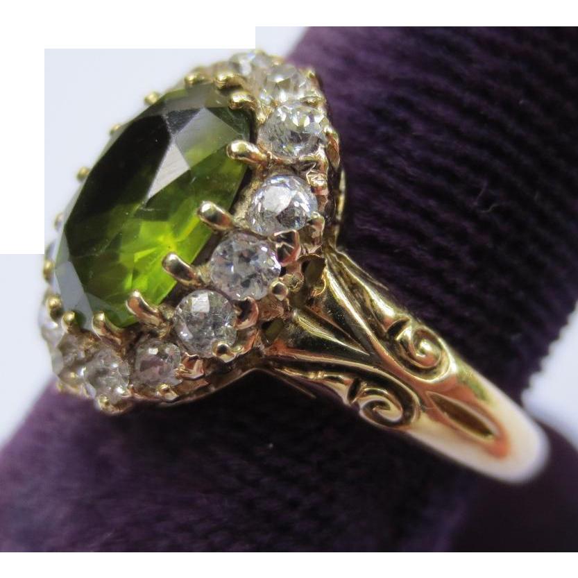 Gorgeous Victorian 15K Gold Peridot & Diamond Halo Ring