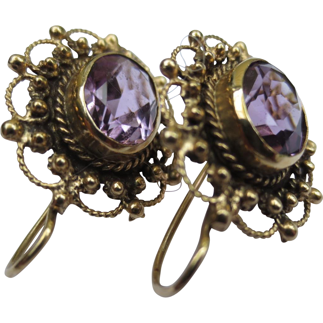 Etruscan revival 14k Gold Amethyst Antique Earrings