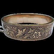 Victorian Taille d'Epargne Enamel 14k Gold Engraved floral Bracelet