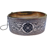 Stunning Victorian Taille d'epargne Enamel Wide 10k Gold Bracelet