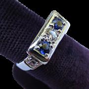 Elegant Art Deco 18k White Gold Diamond & Sapphire engagement Ring