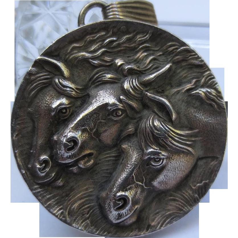 Fantastic Vintage Sterling Silver Horse Pendant Cinelli