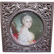 Antique Silver Filigree Box with Miniature Portrait Painting