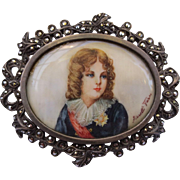 Antique Miniature Portrait Painting Royal Young Man Silver & Marcasite Brooch