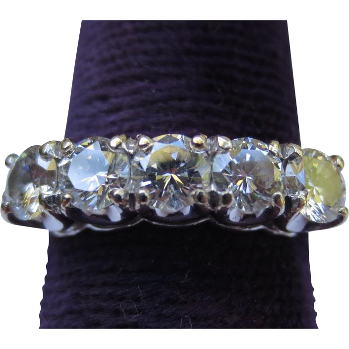 Wonderful Vintage 14k White & Yellow Gold Fine Diamond Row Ring VVS-2 Clarity!