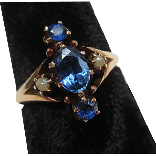 Victorian 14k rose gold Ceylon Sapphire Seed Pearl Ring