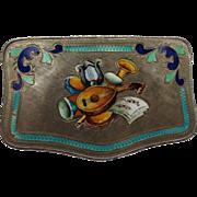 Fine Italian antique Silver & Enamel Mirrored Box Musical instruments Mandolin, Harp, Trumpet, Drum