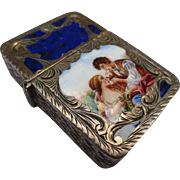 1920's Italian Silver & Enamel Lighter Case Match Safe