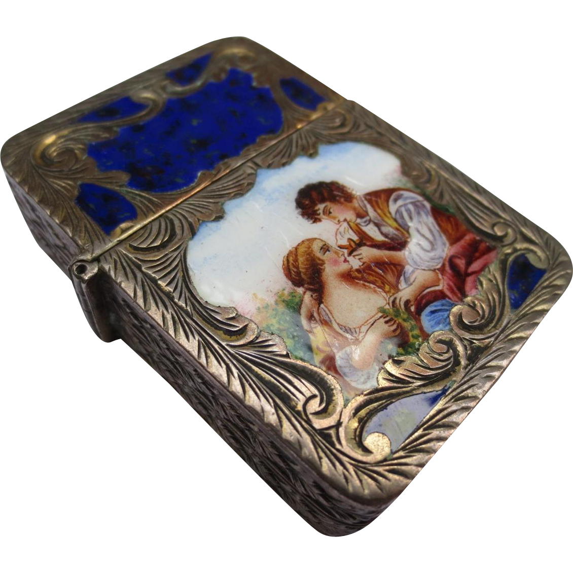 1920's Italian Silver & Enamel Lighter Case Match Safe