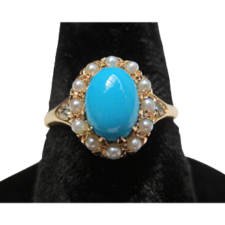 Antique Persian Turquoise Victorian 14k gold Diamond seed pearl ring