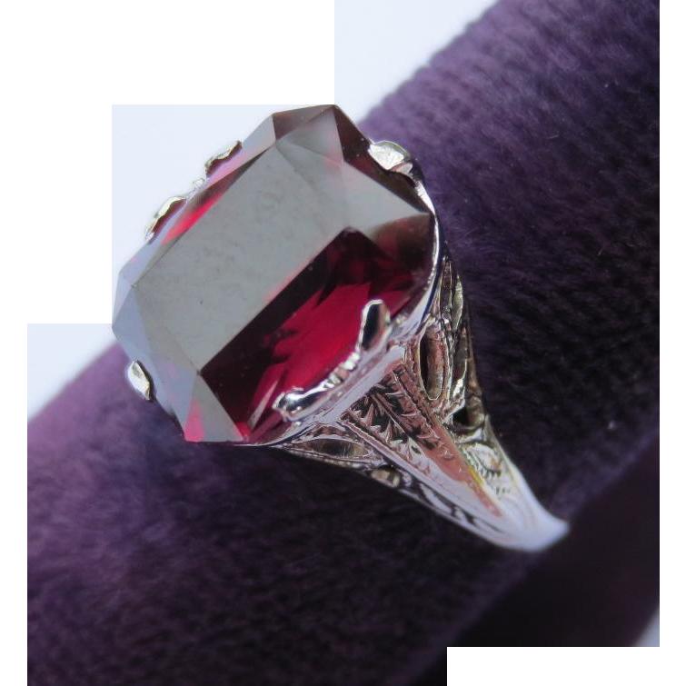 Art Deco 14k White Gold and Garnet Ring