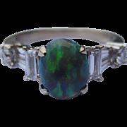 Stunning Black Opal & Diamond 18k White Gold Ring
