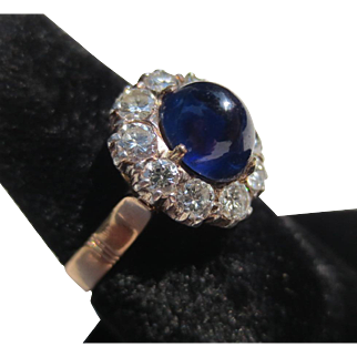 Fantastic Sapphire and Diamond Antique 14k Gold ring