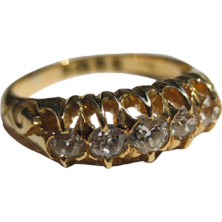 Antique English Victorian 18k Gold Claw set 5 diamond band