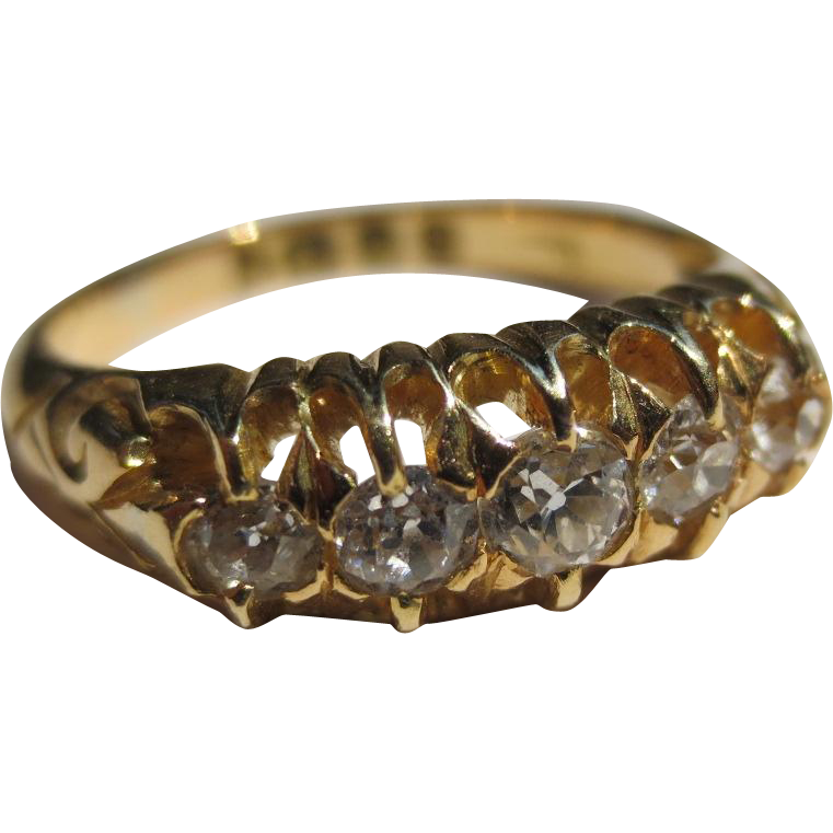 Antique English Victorian 18k Gold Claw set 5 diamond band
