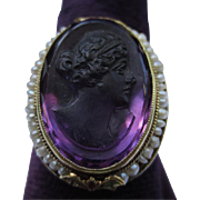Edwardian Carved Amethyst Cameo & Seed Pearl Engraved 14k Gold RIng