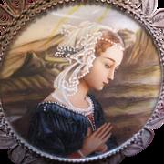 Italian Silver Frame Vintage Saint Miniature Portrait Painting Pendant