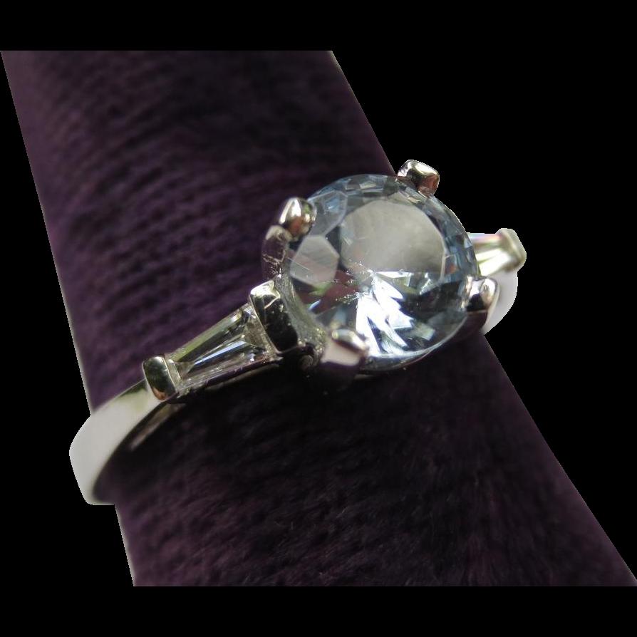vintage platinum aquamarine engagement ring from
