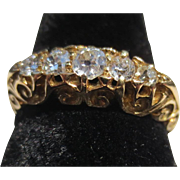 Antique old European cut diamond 18k gold Victorian ring