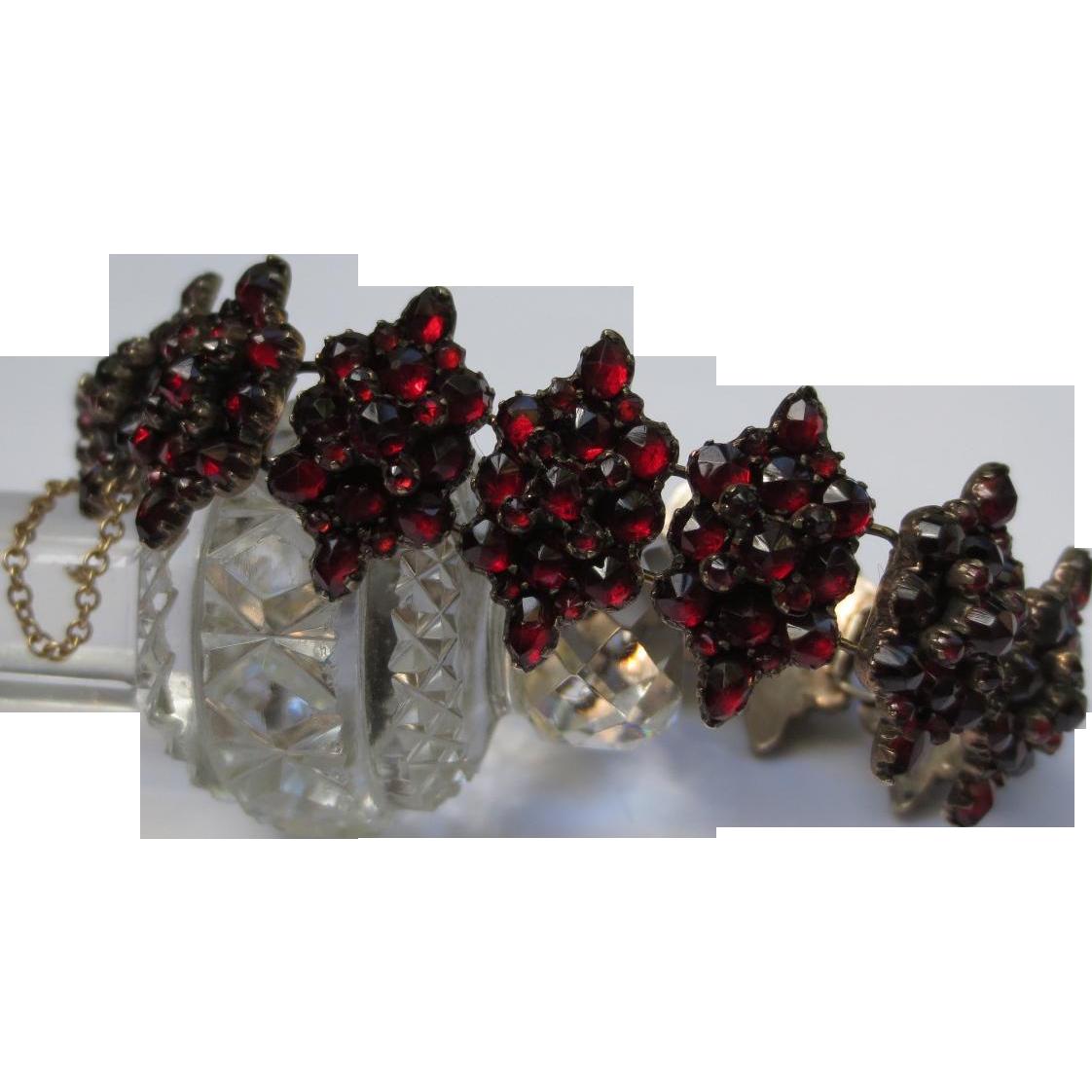 Victorian Rose Cut Bohemian Garnet Silver Panel Bracelet
