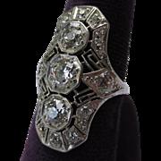 Stunning!  Vintage Art Deco Platinum & Diamond Ladies Cocktail Ring