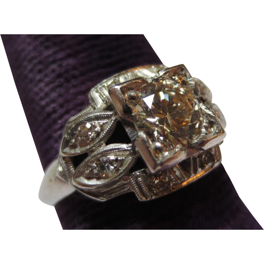 Vintage 1930's Ladies Platinum & Diamond Engagement Ring