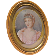 Antique Empire Period Miniature Portrait Painting of Lady in Gold Gilt Frame