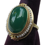 Beautiful Edwardian Antique 14k Gold seed pearl & Chrysoprase ring