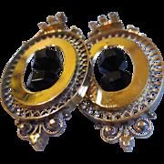 Victorian Etruscan Revival 14k Gold & Jet Mourning Chandelier Earrings