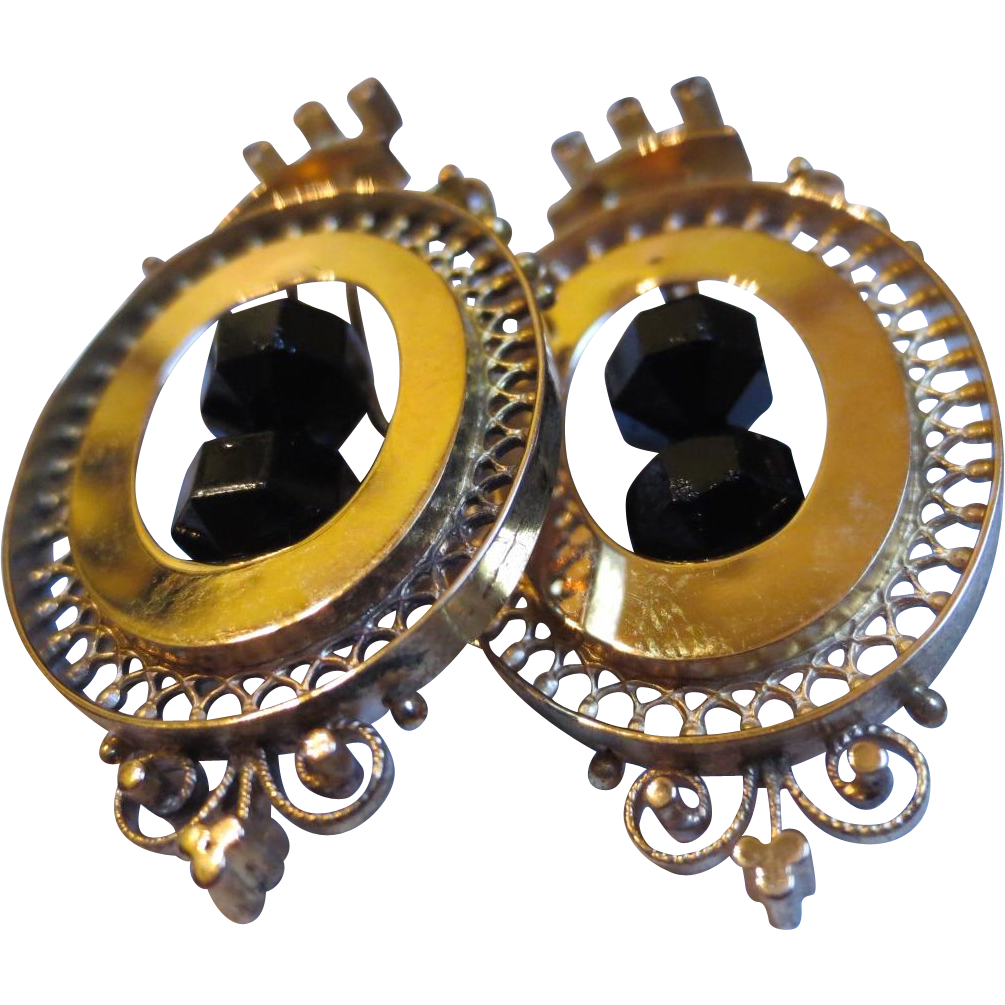 Victorian Etruscan Revival 14k Gold & Jet Mourning Chandelier Earrings