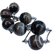 Edwardian Scottish Banded Agate Bead Silver Necklace