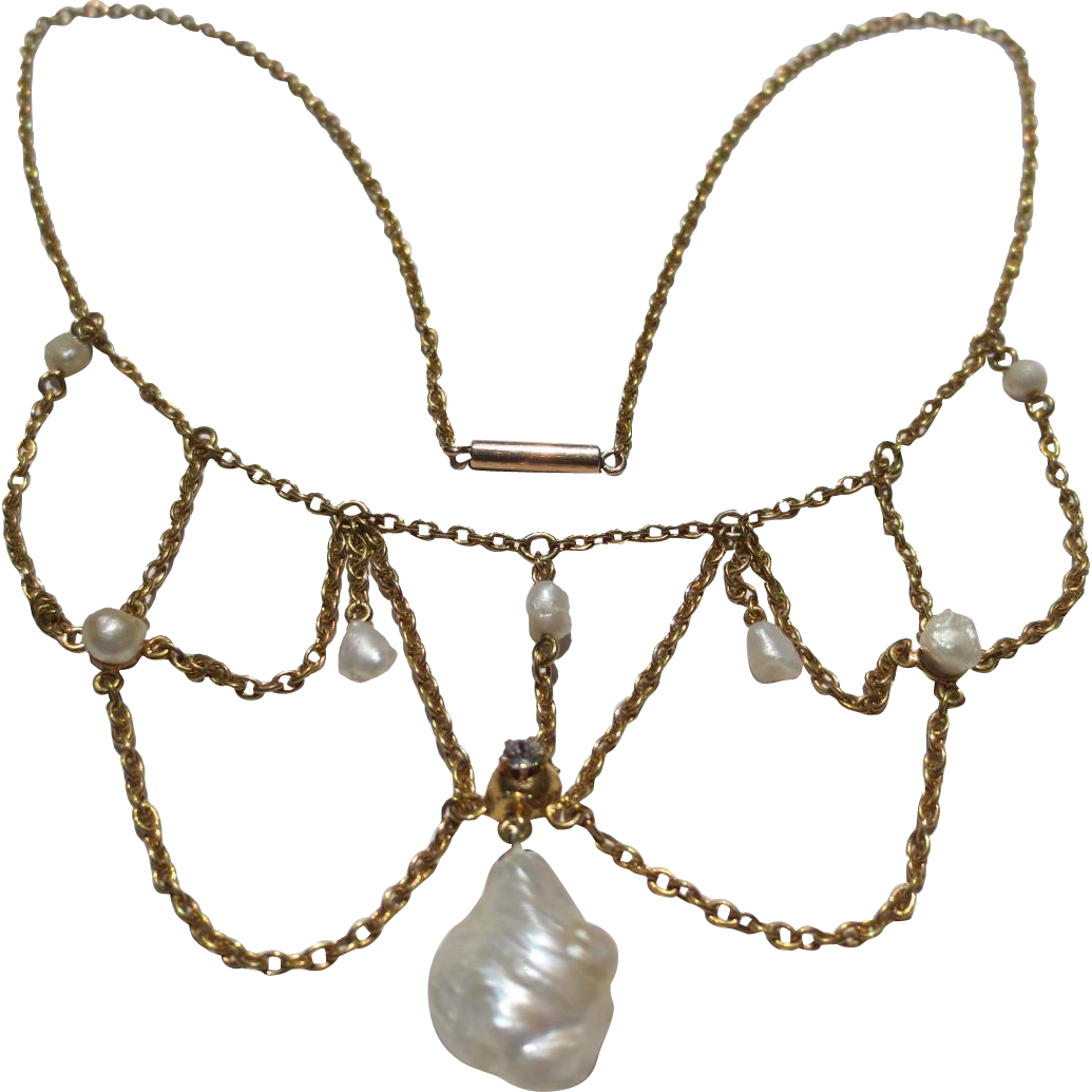 Lovely Edwardian 14k gold Pearl & Diamond Festoon wedding necklace collar