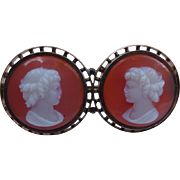 Antique 9k Gold Victorian Hardstone Agate Cameo Brooch