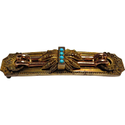 14k Gold Etruscan Revival Victorian Brooch Persian Turquoise